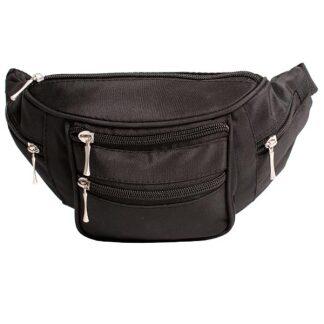 Cheap and Functional Multi Pocket Black Micro Fibre Bum Bag