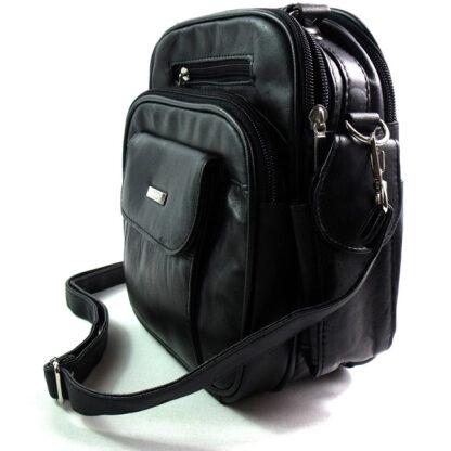 Beautiful quality men's black leather messenger bag